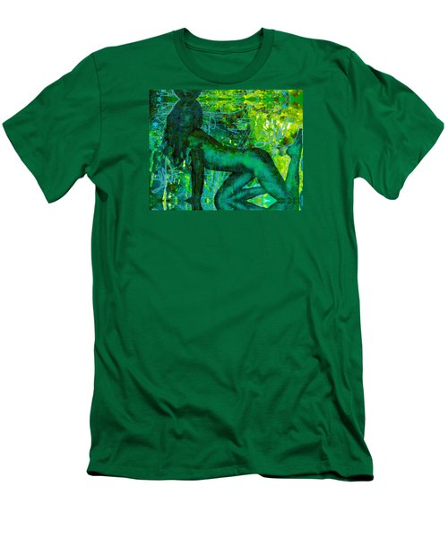 Emerald Green Sacred Sex Graffiti Men's T-Shirt (Slim Fit) by Deprise Brescia