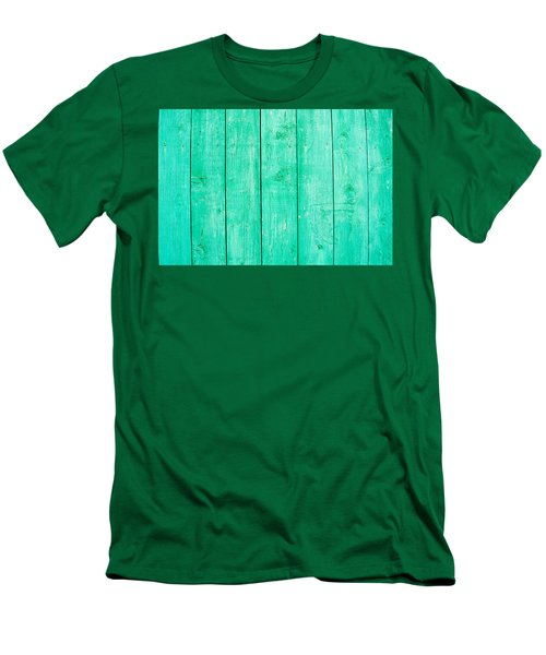 Men's T-Shirt (Slim Fit) featuring the photograph Fading Aqua Paint On Wood by John Williams