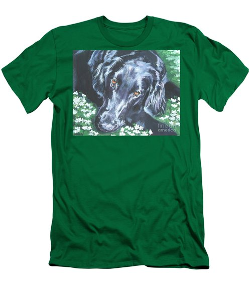 Men's T-Shirt (Slim Fit) featuring the painting Flat Coated Retriever by Lee Ann Shepard