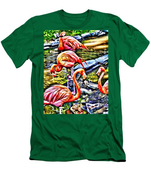 Four Pink Flamingos Men's T-Shirt (Athletic Fit)