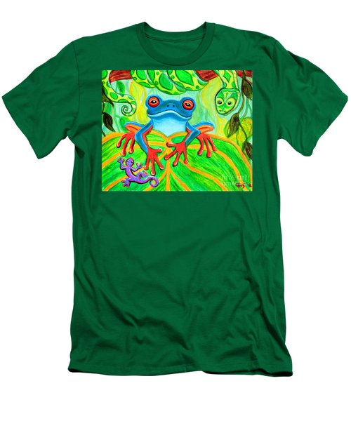 Frog Snake And Gecko In The Rainforest Men's T-Shirt (Slim Fit) by Nick Gustafson