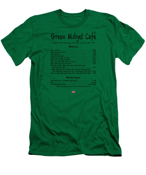 Green Midget Cafe Menu T-shirt Black Letters Men's T-Shirt (Slim Fit) by Robert J Sadler