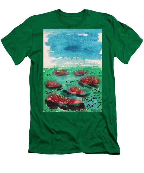 Green Pond With Many Flowers Men's T-Shirt (Athletic Fit)