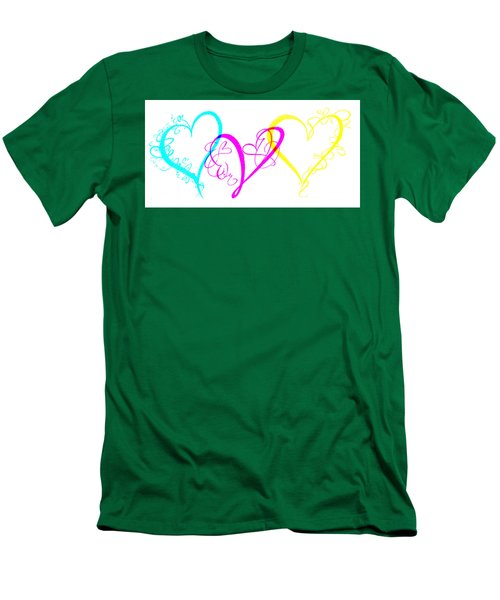 Hearts On White Men's T-Shirt (Athletic Fit)