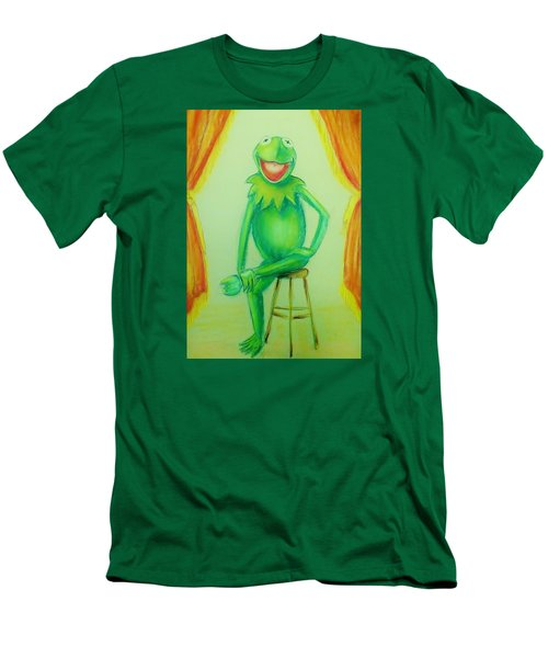 Men's T-Shirt (Slim Fit) featuring the drawing It's Not Easy Being Green by Denise Fulmer