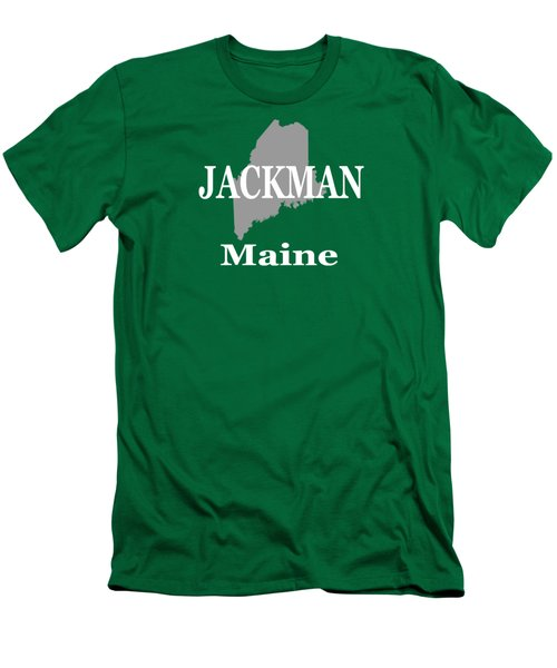 Men's T-Shirt (Slim Fit) featuring the photograph Jackman Maine State City And Town Pride  by Keith Webber Jr