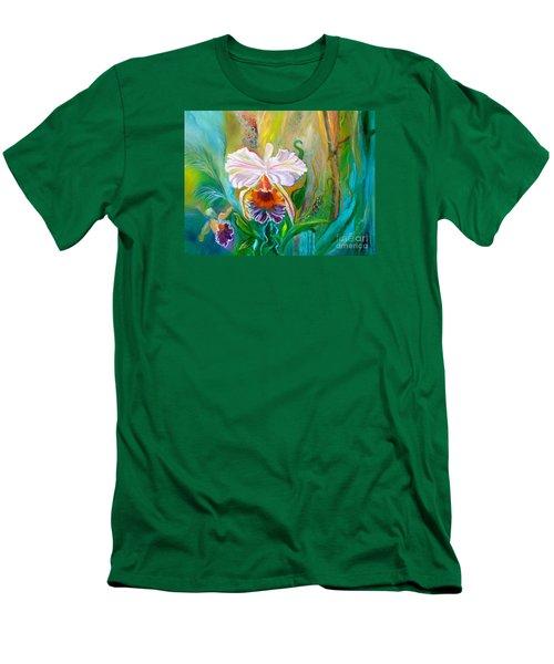 Jungle Orchid Men's T-Shirt (Slim Fit) by Jenny Lee