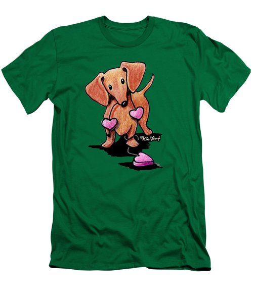 Kiniart Heartstrings Doxie Men's T-Shirt (Athletic Fit)
