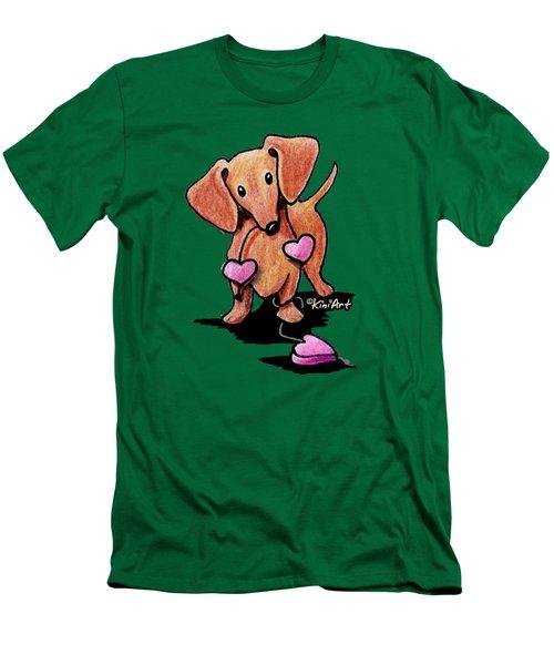 Kiniart Heartstrings Doxie Men's T-Shirt (Slim Fit)