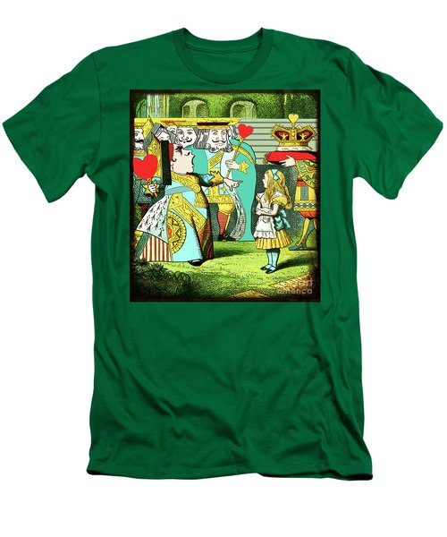 Men's T-Shirt (Athletic Fit) featuring the painting Lewis Carrolls Alice, Red Queen And Cards by Marian Cates