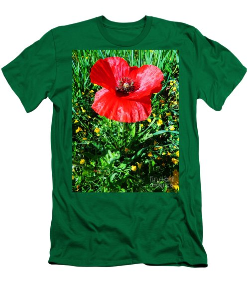 Lonely Poppy Men's T-Shirt (Slim Fit) by Don Pedro De Gracia