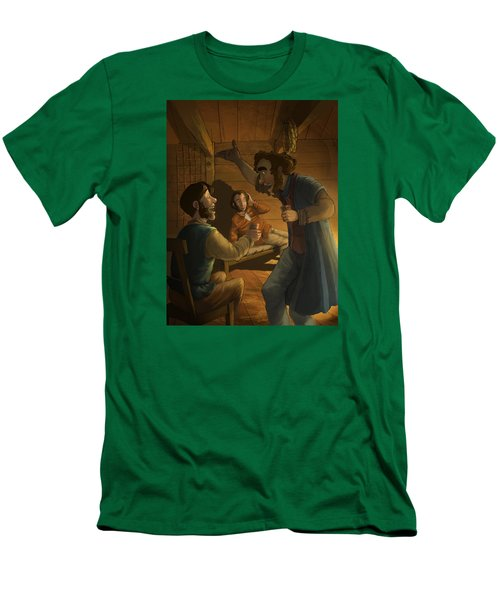 Men In A Hut Men's T-Shirt (Slim Fit) by Andy Catling