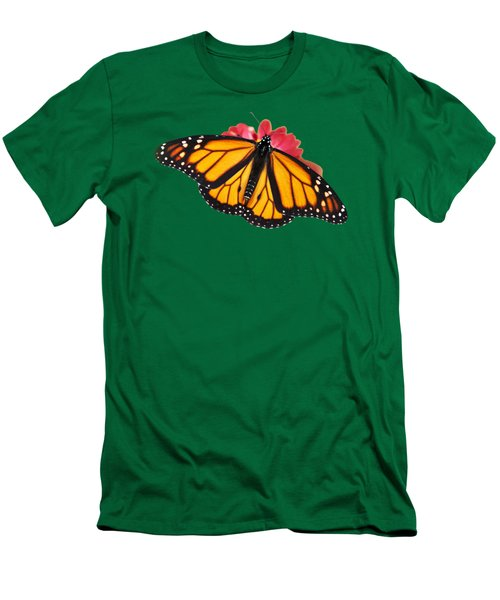Men's T-Shirt (Athletic Fit) featuring the photograph Monarch Butterfly On Red Mums by Christina Rollo