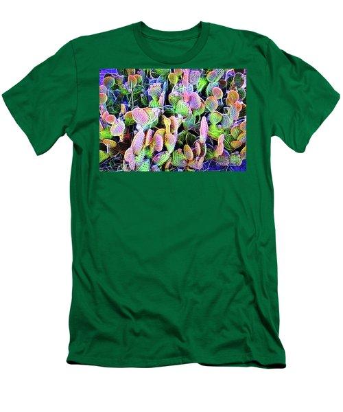 Men's T-Shirt (Slim Fit) featuring the digital art Multi-color Artistic Beaver Tail Cactus by Linda Phelps