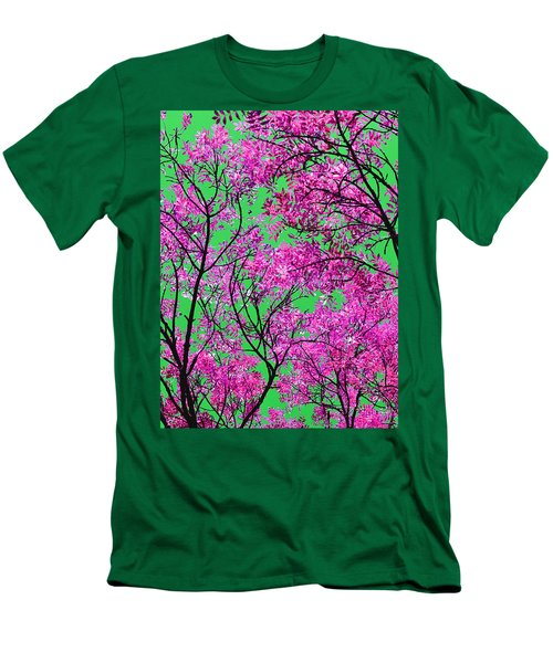 Natures Magic - Pink And Green Men's T-Shirt (Slim Fit) by Rebecca Harman