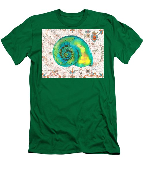 Men's T-Shirt (Slim Fit) featuring the painting Nautical Treasures-n by Jean Plout