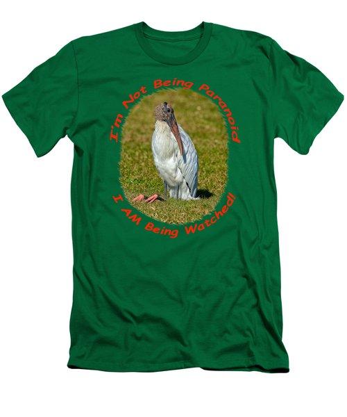 Paranoid Woodstork Men's T-Shirt (Slim Fit) by John M Bailey