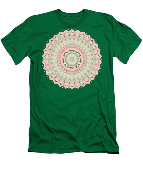 Pink And Green Mandala Fractal 004 Men's T-Shirt (Athletic Fit)