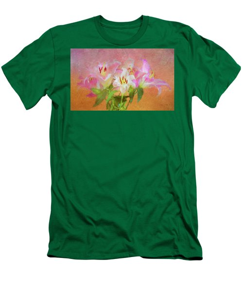 Men's T-Shirt (Athletic Fit) featuring the photograph Pink And White Lilies by Bellesouth Studio