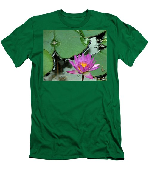 Men's T-Shirt (Slim Fit) featuring the photograph Pink Water Lily by Judy Vincent