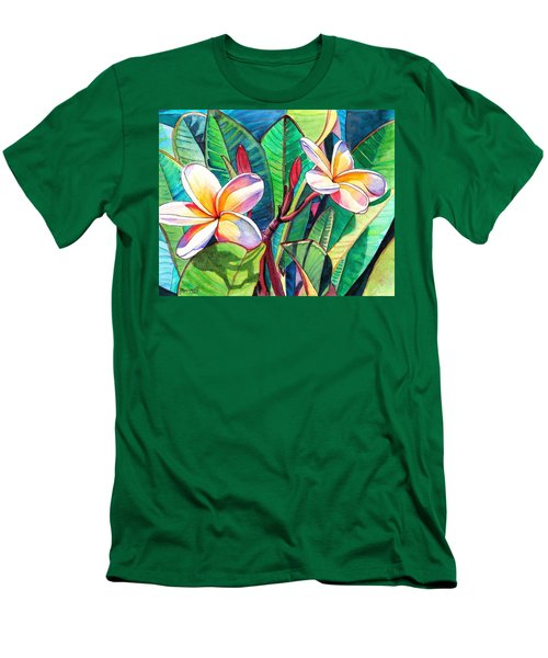Plumeria Garden Men's T-Shirt (Slim Fit) by Marionette Taboniar