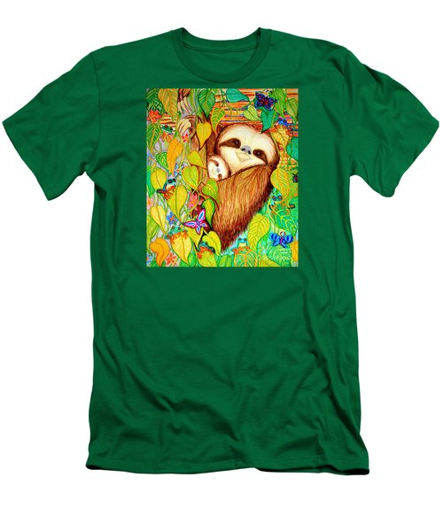 Rain Forest Survival Mother And Baby Three Toed Sloth Men's T-Shirt (Slim Fit) by Nick Gustafson