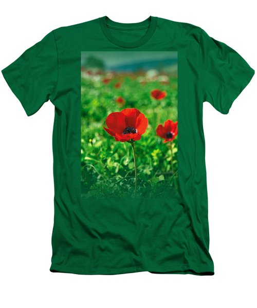 Red Anemone Coronaria T-shirt Men's T-Shirt (Slim Fit) by Isam Awad