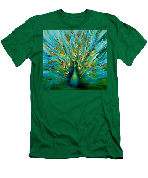 Regal Peacock Men's T-Shirt (Slim Fit) by Dina Dargo