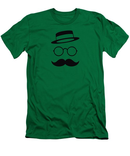 Retro Minimal Vintage Face With Moustache And Glasses Men's T-Shirt (Athletic Fit)