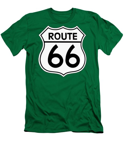 Men's T-Shirt (Slim Fit) featuring the digital art Route 66 Sign by Chuck Staley