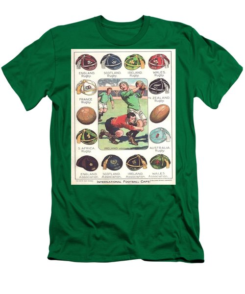 Men's T-Shirt (Slim Fit) featuring the painting Rugby Caps - Vintage by Pg Reproductions