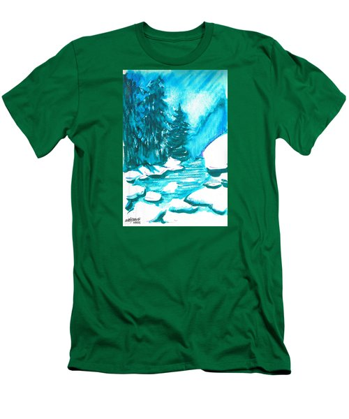 Men's T-Shirt (Slim Fit) featuring the mixed media Snowy Creek Banks by Seth Weaver