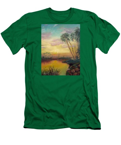 Men's T-Shirt (Slim Fit) featuring the painting St. Johns Sunset by Dawn Harrell