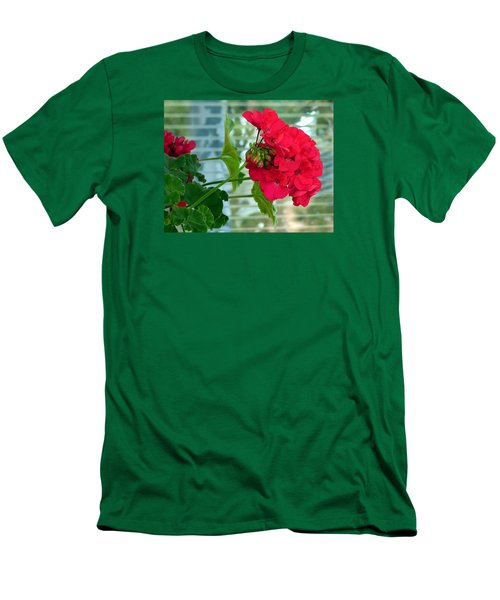 Stunning Red Geranium Men's T-Shirt (Slim Fit) by Will Borden