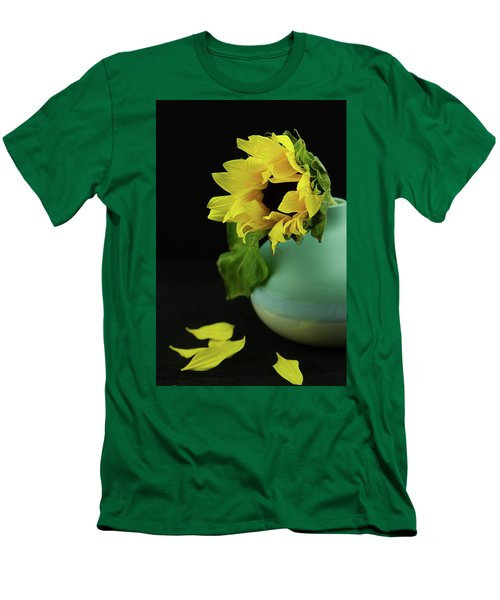 Sunflower In Blue Pottery Men's T-Shirt (Athletic Fit)