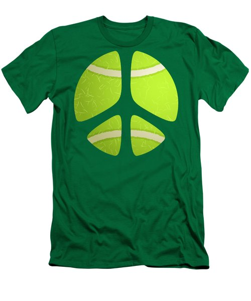 Tennis Ball Peace Sign Men's T-Shirt (Slim Fit) by David G Paul