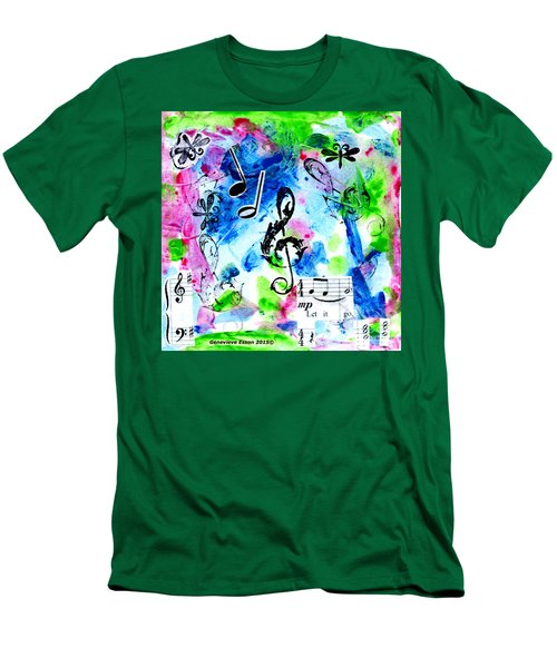 Men's T-Shirt (Slim Fit) featuring the mixed media Treble Mp by Genevieve Esson