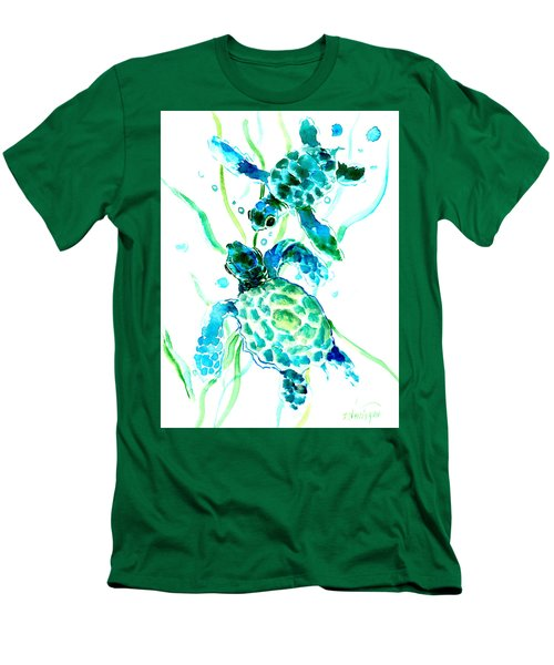 Turquoise Indigo Sea Turtles Men's T-Shirt (Athletic Fit)