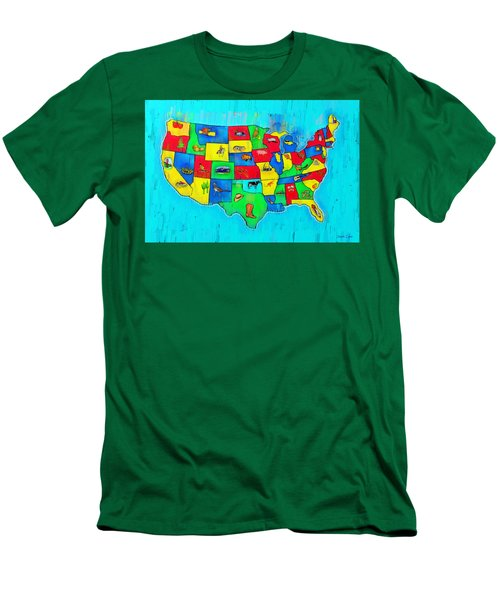 Us Map With Theme  - Free Style -  - Pa Men's T-Shirt (Athletic Fit)