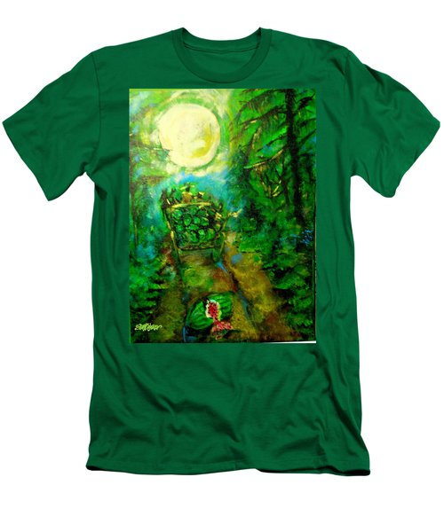 Men's T-Shirt (Slim Fit) featuring the painting Watermelon Wagon Moon by Seth Weaver