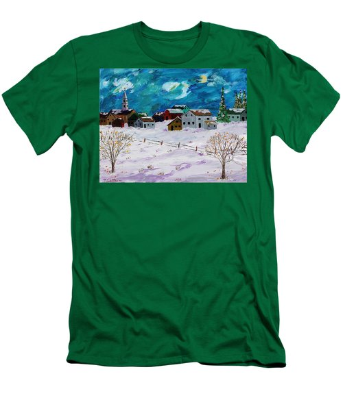 Winter Village Men's T-Shirt (Slim Fit) by Mike Caitham