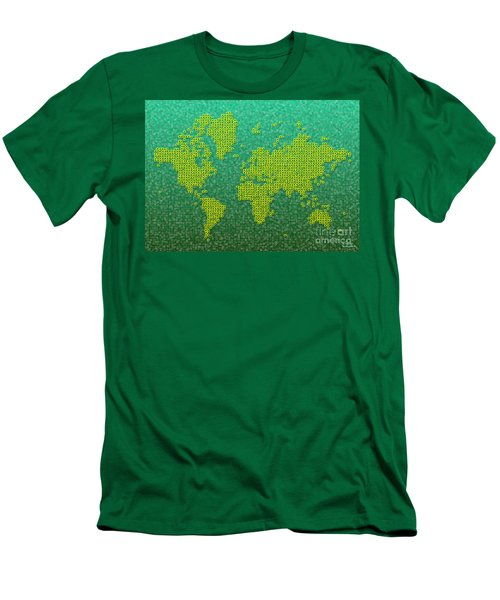 World Map Kotak In Green And Yellow Men's T-Shirt (Athletic Fit)
