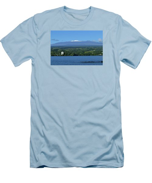Men's T-Shirt (Slim Fit) featuring the photograph  Hawaii's Snow Above Hilo Bay Hawaii by Lehua Pekelo-Stearns