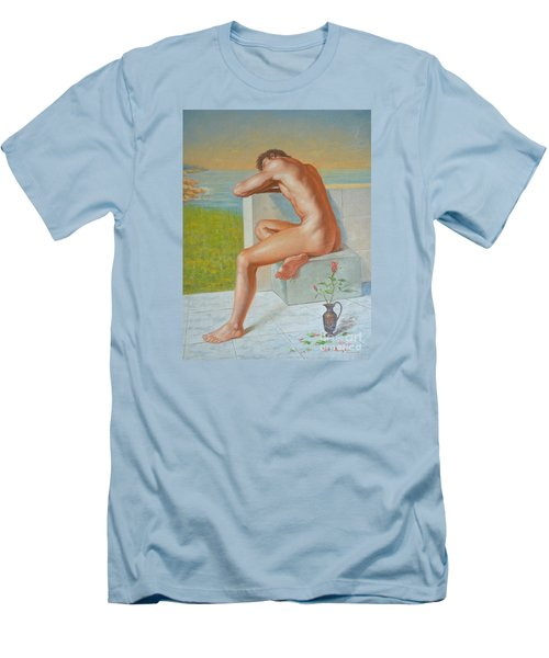 Original Classic Oil Painting Man Body Art  Male Nude And Vase #16-2-4-09 Men's T-Shirt (Slim Fit) by Hongtao     Huang