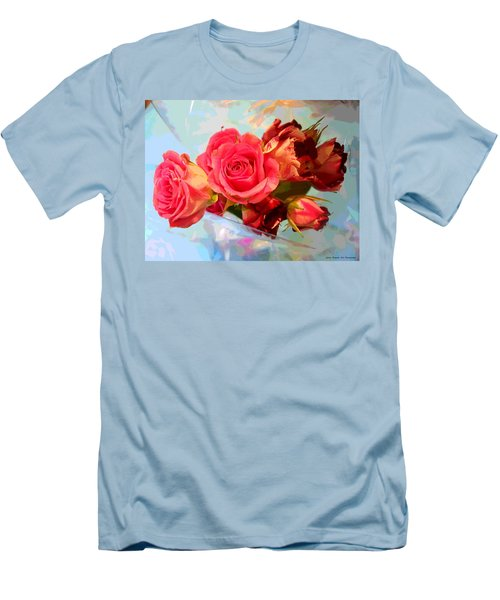 Roses 4 Lovers  Men's T-Shirt (Slim Fit) by Rogerio Mariani