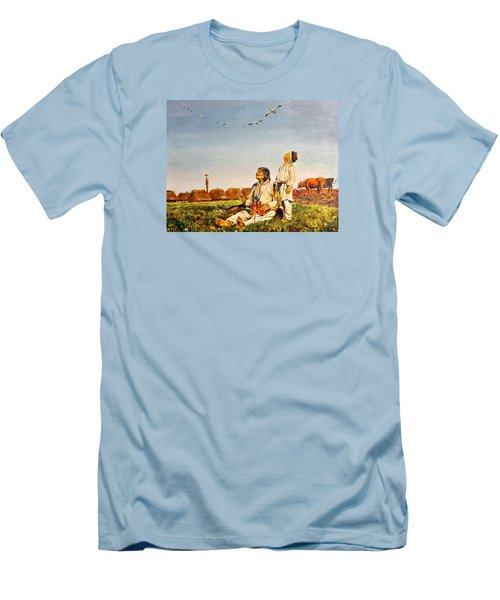Men's T-Shirt (Slim Fit) featuring the painting End Of The Summer- The Storks by Henryk Gorecki