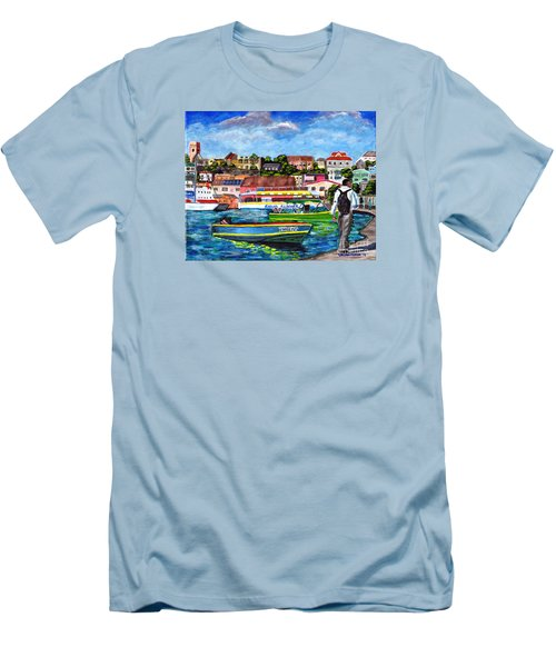 A Stroll On The Carenage Men's T-Shirt (Slim Fit) by Laura Forde
