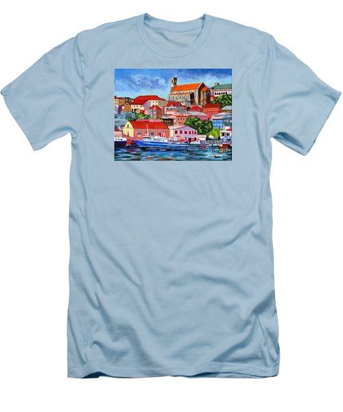 A View Of The Carenage Men's T-Shirt (Slim Fit) by Laura Forde