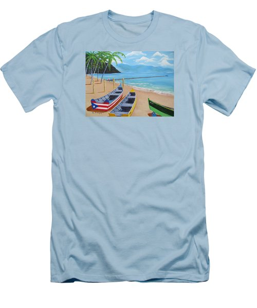 Aguadilla Crashboat Beach Men's T-Shirt (Slim Fit) by Luis F Rodriguez