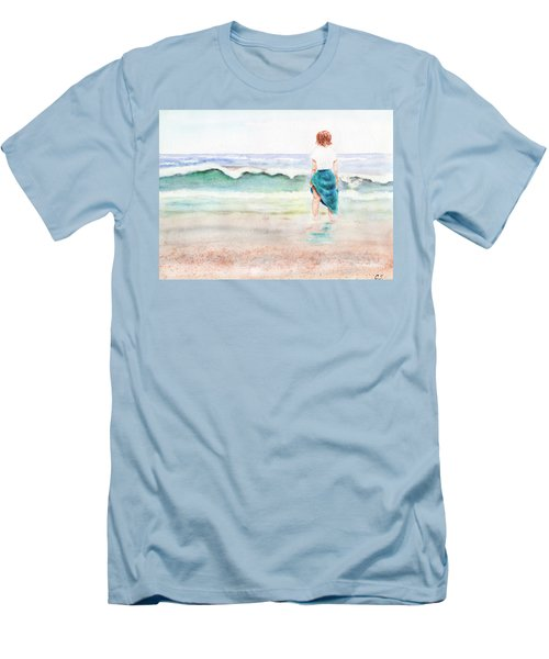 At The Beach Men's T-Shirt (Slim Fit) by C Sitton